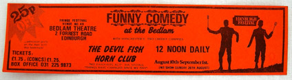 The DevilfishhornClub bookmark, Edinburgh 1984